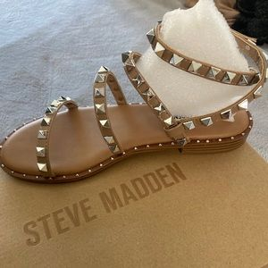 Studded tan sandals